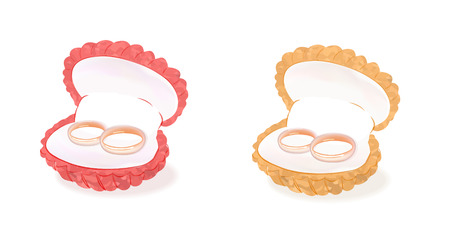 wedding gold rings in the wedding box. realistic wedding rings for bride and groom in box isolated on white background  イラスト・ベクター素材