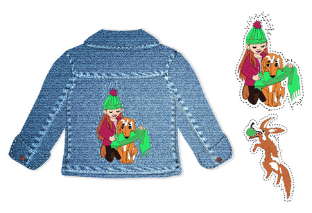 design for childrens clothing, spring denim jacket. childrens embroidery in cartoon style hand-drawn for the design of things. funny kids and animals for children decoration in vector