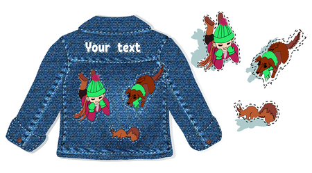 realistic denim childrens jacket with embroidery on the back for fashion design, bags, advertising. cartoon childrens hand-drawn composition of girls and animals for the design of clothing, embroide