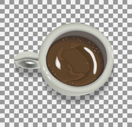 realistic Cup with black coffee on  transparent  background for design