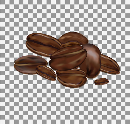 natural coffee beans isolated on transparent background Banque d'images - 126056623