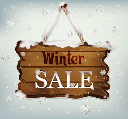 hanging, wooden Board pointer on blue background. vector, wooden object with text winter sales