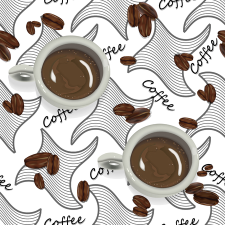 vector seamless pattern on the theme of coffee. coffee beans with a Cup of coffee in a realistic look on black patterns with text. modern seamless pattern for design wrapping paper, tablecloths, Wallp