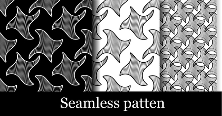 set of modern seamless patterns in black and white. set of backgrounds in the form of figures of black lines for design. collection of samples of black and white figures, vector graphics