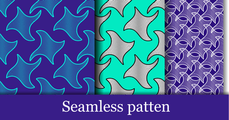 set of modern seamless patterns in blue tones. set of backgrounds in the form of figures of black lines for design. collection of samples of black and white figures, vector graphics