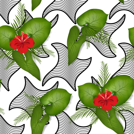 spring, summer pattern, Wallpaper with flowers, leaves and patterns. seamless, vector pattern in the style of realism for Wallpaper design, bags, holiday wrapping paper
