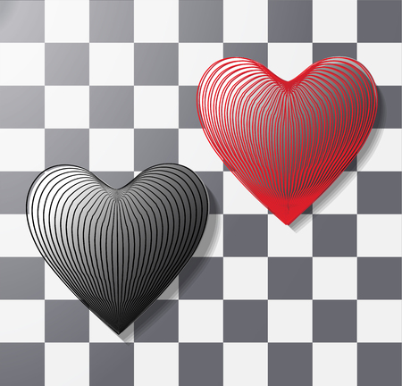 convex, volumetric heart of 3 d lines effect on isolated background. icon, heart symbol in eps 10 vector for web printing, design element, postcard, pattern