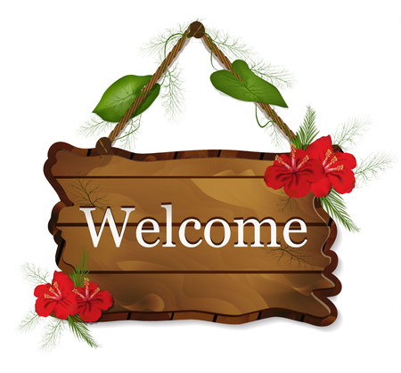 wooden Board with red flowers and leaves isolated on white background. vector realistic sign, mocap with greeting text