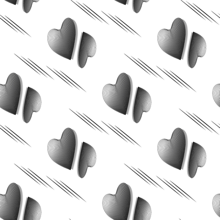 a pattern of three-dimensional, convex hearts in a 3d effect. abstract seamless vector background of black and white hearts in dynamic style. vector illustration for design of covers, bags, postcard,   イラスト・ベクター素材
