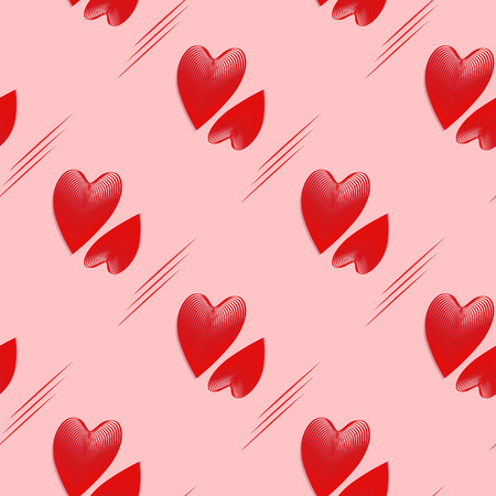 a pattern of three-dimensional, convex hearts in a 3d effect. abstract seamless vector background of red and pink hearts in dynamic style. vector illustration for design of covers, bags, postcard, wra