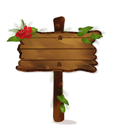 wooden signs, signs for inscriptions from the text with red flowers and leaves in a realistic style. vector pointers isolated on white background