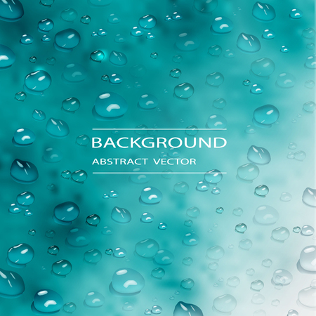 vector realistic water drops. modern realistic  background of water drops on blue background. design for cover design, wrapping paper, flyer, poster. Çizim