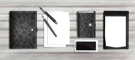 business pattern: paper, pen and pencil, Notepad and phone in realism style for design isolated on light old wooden Board background. 3d business elements, workplace template for work. vector graphics Illustration