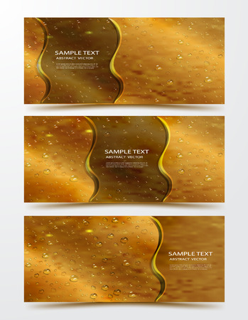 realistic, three-dimensional water droplets. modern set of banners, backgrounds, presentations, with water drops and text on a brown yellow background. 3d design for banner, cover, wrapping paper, flyer, posters. vector graphics Çizim