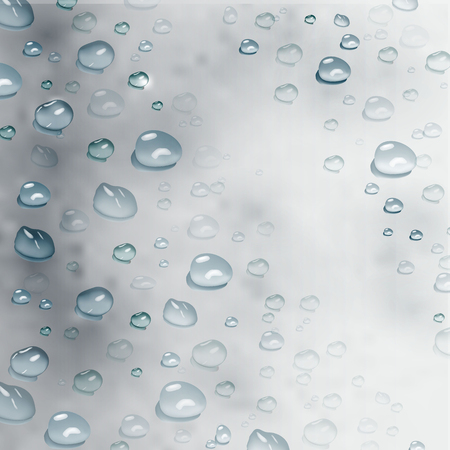 vector realistic water drops. modern realistic background of water drops on grey background. design for cover design, wrapping paper, flyer, poster. Illustration