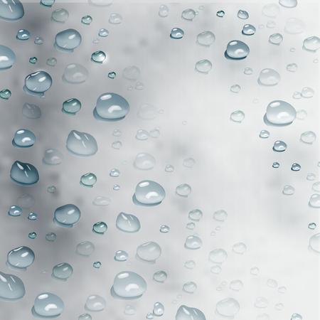 vector de gotas de agua realistas. Fondo realista moderno de gotas de agua sobre fondo gris. diseño para diseño de portada, papel de regalo, folleto, póster. Ilustración de vector