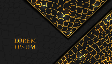 abstract black and gold snake skin background. gold glitter, luxury, elegant, fashionable style of the shapes of triangles. background from realistic leather for wedding invitations, postcards, packaging, banners, postcards, flyers, invitations, parties. vector graphics