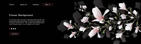realistic flower, Magnolia branch isolated on black background. Magnolia branch-a symbol of spring, summer, femininity in the style of realism. 3d, three-dimensional background for web design, banner, presentation . Widescreen