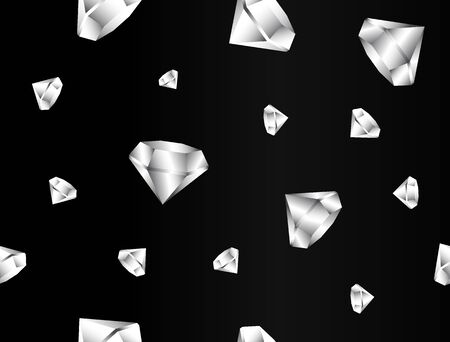seamless texture. gradient glitter of precious stones in a realistic style. luxury Diamond, diamond isolated on black background. art, 3d background  イラスト・ベクター素材