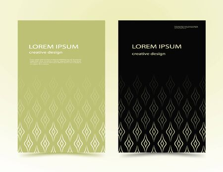 geometric shapes, in a minimalist style. Abstract lines in the form of waves for advertising. design of covers, covers, brochures, banners. green, black vector banner, poster with text. EPS 10  イラスト・ベクター素材