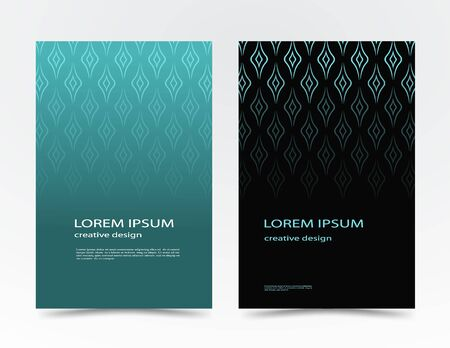 geometric shapes, in a minimalist style. Abstract lines in the form of waves for advertising. design cases, covers, brochures, banner. Blue, black vector banner, poster with text. EPS 10  イラスト・ベクター素材
