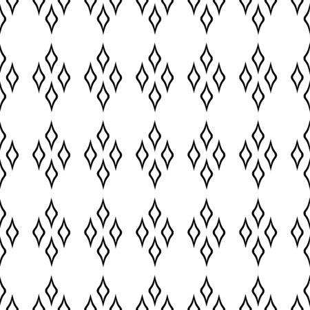 Abstract geometric seamless pattern of rhombus. a black white pattern of lines isolated on a white background. monochrome template for web banner, design, poster, postcards, Wallpaper, backgrounds, advertising.  イラスト・ベクター素材