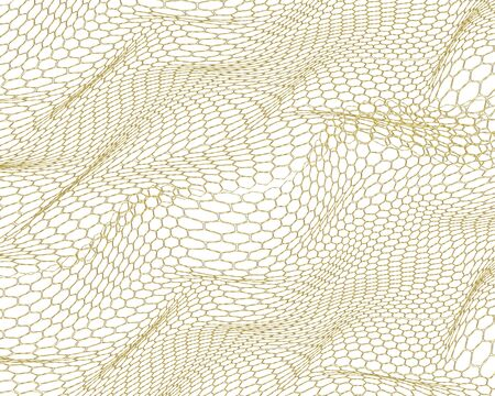 realistic abstract hexagon, wave style line . glitter gold, luxurious, modern background. concept, pattern, fashion pattern 3 D design, space in the style of realism.  イラスト・ベクター素材