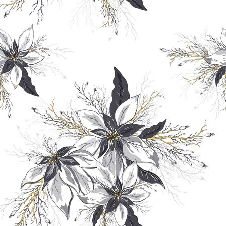 seamless vector floral pattern. realistic doodling . modern background of winter flowers (poinsettia) and leaves in dark gold colors. Exotic Wallpaper