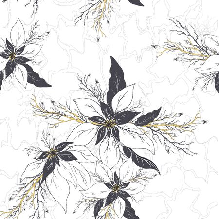 seamless vector floral pattern. realistic doodling. modern background of winter flowers (poinsettia) and leaves in dark gold colors. Exotic Wallpaper
