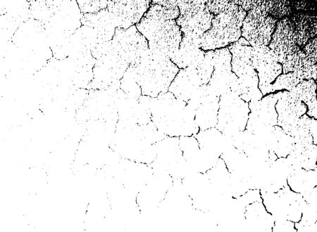 vector texture of the earth, problem cracks, rough concrete, street pavement. monochrome pattern of dry surface, stone, cracked earth, soil. black, white background in minimalist style. Stock Illustratie