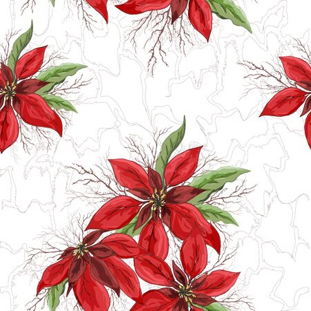 seamless vector floral pattern. realistic doodles. modern background of winter red flowers (poinsettia) and leaves in a modern style. Exotic Wallpaper