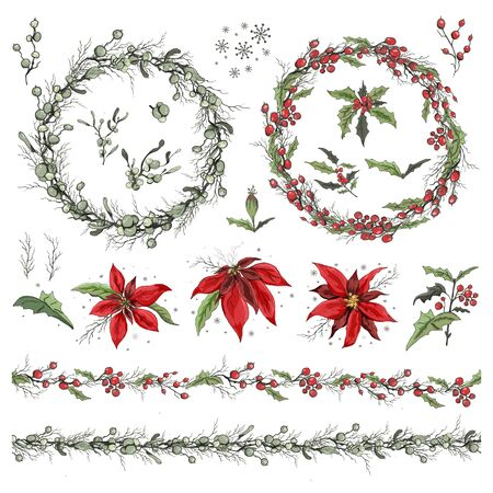 Set of winter flowers, branches and leaves.  Botanical doodling in a realistic style. seamless garland with seasonal elements For your ideas, paper greeting cards, posters, advertising.  イラスト・ベクター素材