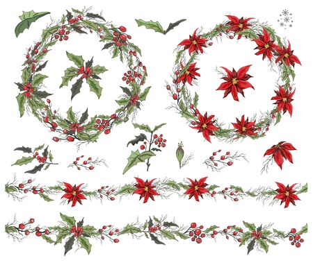 Set with winter decorations of branches, flowers.  Botanical Doodle in realistic style. The round seamless garland is decorated with seasonal elements of seamless tassels. For season greeting cards, posters, advertising.  イラスト・ベクター素材