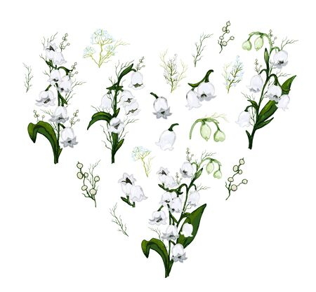 Spring set, a bouquet of Lily of the valley flowers in the form of a heart. hand-drawn realistic Doodle isolated on white background. Botanical vector illustration, flowers of the primrose. for design, advertising, Wallpaper, paper