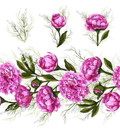 Endless brush pattern with spring peony flowers and greenery. hand-drawn Doodle in a realistic style. pink elements, horizontal border for seasonal design. vintage style.