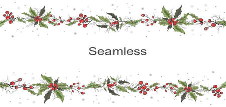 seamless vector frame of winter Holly flowers, Rowan branches. hand-drawn sketch, Doodle, drawing in a realistic style. for decoration, design, Wallpaper, presentation, paper