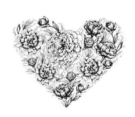 Flower set of summer peonies. realistic, hand-drawn elements of flowers in the shape of a heart. romantic bouquet for advertising, Wallpaper, paper, decor, greeting cards, invitations. vintage style