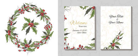 hand-drawn greeting card, an invitation made of flowers isolated on a white background. realistic Botanical bouquets, of flowers (Holly). for postcards, invitations, holidays. vintage style Vector Illustration