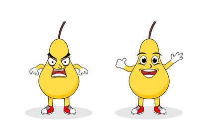 Pear fruit character set flat