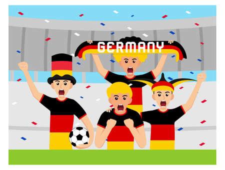 German Supporters in flat design Stock Vectors
