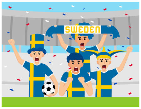 Sweden Supporters in flat design Stock Vectors 向量圖像