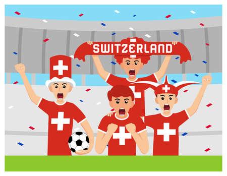 Switzerland Supporters in flat design Stock Vectors