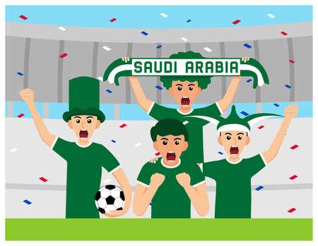 Saudi Arabia Supporters in flat design Stock Vectors