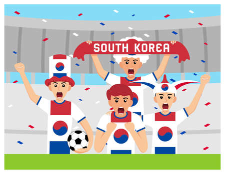 South Korea Supporters in flat design Stock Vectors 向量圖像