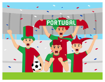 Portugal Supporters in flat design Stock Vectors 向量圖像