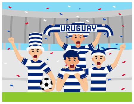 Uruguay Supporters in flat design Stock Vectors