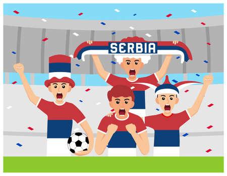 Serbia Supporters in flat design Stock Vectors