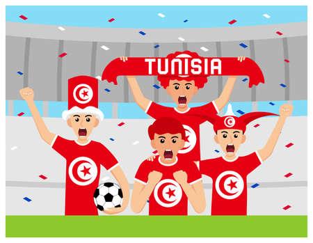 Tunisia Supporters in flat design Stock Vectors