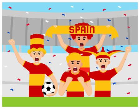 Spain Supporters in flat design Stock Vectors
