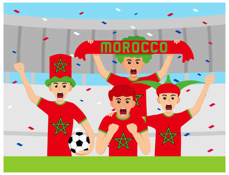 Morocco Supporters in flat design Stock Vectors